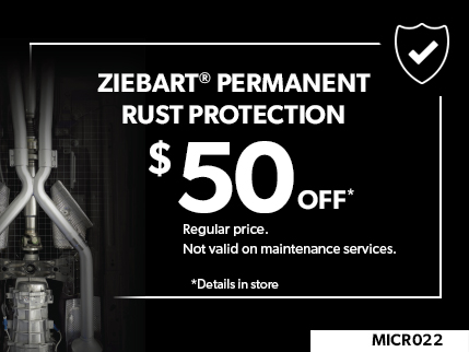MICR022 - Ziebart Permanent Rust protection 50$ off