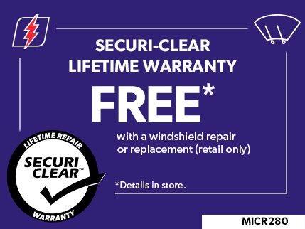MICR280 - Securi Clear Lifetime Warranty FREE with a windshield repair or replacement (retail only)